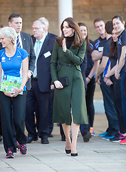 The Duchess of Cambridge leaves Craigmount High School, with Judy Murray.