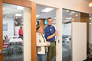 Ohio University faculty, staff, and students visit the new CoLab on the third floor of Alden Library for the Faculty and Staff Open House on Oct. 25, 2018. Photo by Hannah Ruhoff