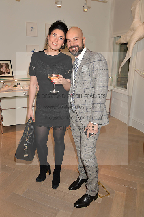 JENNA HOUSBY and ANDREA BASSO at a private view of Stephen Webster's new White Kite collection held at his flagship store at 130 Mount Street, London on 24th November 2016.