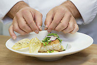 Male chef garnishing food close-up
