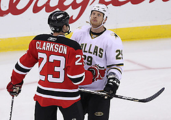 Oct 8; Newark, NJ, USA; Dallas Stars left wing Steve Ott (29) refuses to fight New Jersey Devils right wing David Clarkson (23) during the third period at the Prudential Center. The Stars defeated the Devils 4-3 in overtime.