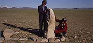 Mongolia. monoliths , Turkish tumb,  Khovd       / Pierre tombale turque (VI-VIIIème siècle). / Au pied de la chaîne montagnes de l'Altay, on peut trouver de ces pierres tombales laissées par les Turcs. Il s'agit en fait plus d'un mémorial que d'une tombe proprement dite. Aucune sépulture ne fut mise à jour sous ces monolithes entourés de blocs rocheux. Malgré de nombreuses fouilles, ils gardent encore aujourd'hui leur secret. (Près de la ville de QOVD  / /1    L920714b  /  P0002606