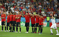Spanish team during penalty shots in the UEFA EURO 2008 Quarter-Final soccer match between Spain and Italy at Ernst-Happel Stadium, on June 22,2008, in Wien, Austria. Spain won after penalty shots 4:2. (Photo by Vid Ponikvar / Sportal Images)