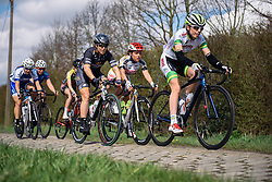 Chloe Hosking across the Dottignies cobbles - Grand Prix de Dottignies 2016. A 117km road race starting and finishing in Dottignies, Belgium on April 4th 2016.