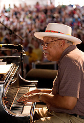 April 23rd, 2005. New Orleans, Louisiana,  USA. <br /> New Orleans Jazz and Heritage Festival. JazzFest.<br /> Legendary Jazz pianist Ellis Marsalis plays the Jazz tent.<br /> Ellis Marsalis passed away April 1st 2020 of complications associated with Coronavirus - COVID-19.<br /> Photo ©; Charlie Varley/varleypix.com