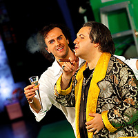 Picture shows : Thomas Walker as Lindoro (l) and Tiziano Bracci as Mustafa (r)..Picture  ©  Drew Farrell Tel : 07721 -735041..A new Scottish Opera production of  Rossini's 'The Italian Girl in Algiers' opens at The Theatre Royal Glasgow on Wednesday 21st October 2009..(Soap) opera as you've never seen it before..Tonight on Algiers.....Colin McColl's cheeky take on Rossini's comic opera is a riot of bunny girls, beach balls, and small screen heroes with big screen egos. Set in a TV studio during the filming of popular Latino soap, Algiers, the show pits Rossini's typically playful and lyrical music against the shoreline shenanigans of cast and crew. You'd think the scandal would be confined to the outrageous storylines, but there's as much action off set as there is on.... .Italian bass Tiziano Bracci makes his UK debut in the role of Mustafa. Scottish mezzo-soprano Karen Cargill, who the Guardian called a 'bright star' for her performance as Rosina in Scottish Opera's 2007 production of The Barber of Seville, sings Isabella. .Cast .Mustafa...Tiziano Bracci.Isabella..Karen Cargill.Lindoro...Thomas Walker.Elvira...Mary O'Sullivan.Zulma...Julia Riley.Haly...Paul Carey Jones.Taddeo...Adrian Powter. .Conductors.Wyn Davies.Derek Clarke (Nov 14). .Director by Colin McColl.Set and Lighting Designer by Tony Rabbit.Costume Designer by Nic Smillie..New co-production with New Zealand Opera.Production supported by.The Scottish Opera Syndicate.Sung in Italian with English supertitles..Performances.Theatre Royal, Glasgow - October 21, 25,29,31..Eden Court, Inverness - November 7. .His Majesty's Theatre, Aberdeen  - November 14..Festival Theatre,Edinburgh - November 21, 25, 27 ...Note to Editors:  This image is free to be used editorially in the promotion of Scottish Opera. Without prejudice ALL other licences without prior consent will be deemed a breach of copyright under the 1988. Copyright Design and Patents Act  and will be subject to payment or legal action, where appropriate