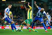 Brighton & Hove Albion central midfielder Steve Sidwell (14) tackles Norwich City midfielder Josh Murphy (31)  during the EFL Sky Bet Championship match between Norwich City and Brighton and Hove Albion at Carrow Road, Norwich, England on 21 April 2017. Photo by Simon Davies.