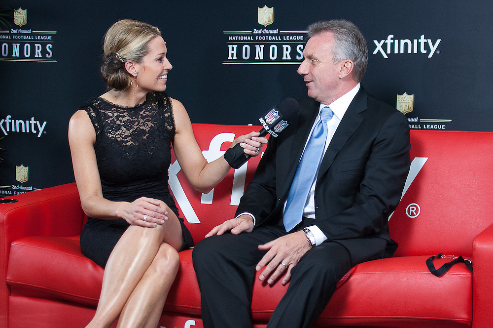 Former NFL Player Joe Montana being interviewed by NFL networks Alex Flanagan at the Mahalia Jackson Theatre NFL Honors in New Orleans, Louisiana on Feb.2 2013.