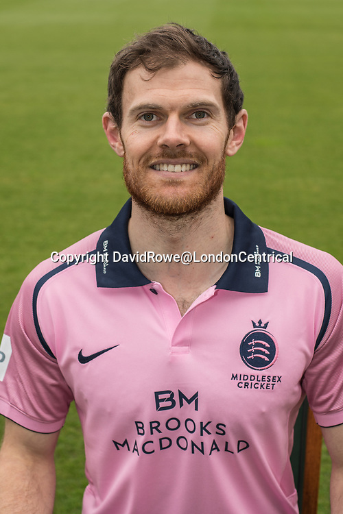 11 April 2018, London, UK.  James Harris of Middlesex County Cricket Club in the   pink Vitality T20 kit . David Rowe/ Alamy Live News