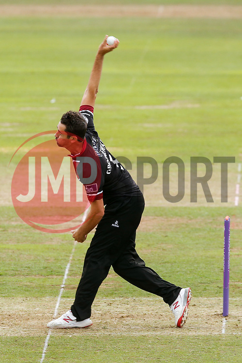 Tim Groenewald of Somerset bowls - Mandatory byline: Rogan Thomson/JMP - 07966 386802 - 26/07/2015 - SPORT - CRICKET - Taunton, England - County Ground - Somerset v Derbyshire Falcons -Royal London One-Day Cup.