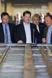 © Licensed to London News Pictures . 16/05/2013 . Altrincham , UK . The British Deputy Prime Minister , NICK CLEGG , visits a The Cartwright Group factory in Altrincham , Greater Manchester , today (Thursday 16th May 2013) . The visit to the Cartwright Group , who manufacture trucks , trailers and ambulances , follows an investment from the Regional Growth Fund . Photo credit : Joel Goodman/LNP
