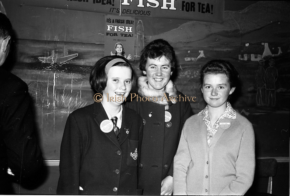 """03-04/03/1964<br /> 03/03-04/1964<br /> 03-04 March 1964<br /> B.I.M. Fish Cookery Competition, Munster final, winners at the Metropole Hotel, Cork. The competition was held at the School of Commerce Cork. Photo Shows: Miss Phyllis Cliffe, Vocational School, Dungarvan, winner of the """"Miss Munster"""" Title with Philomena Kelleher (left), Ursuline Convent, Thurles, (2nd prize) and Maisie Galvin, Vocational School, Killorglin (3rd prize)."""