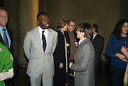 CHRIS OFILI AND JEREMY DELLER, Private view and dinner for the opening of the Peter Doig exhibition. Tate Britain. Millbank. London. 4 February 2008.  *** Local Caption *** -DO NOT ARCHIVE-© Copyright Photograph by Dafydd Jones. 248 Clapham Rd. London SW9 0PZ. Tel 0207 820 0771. www.dafjones.com.