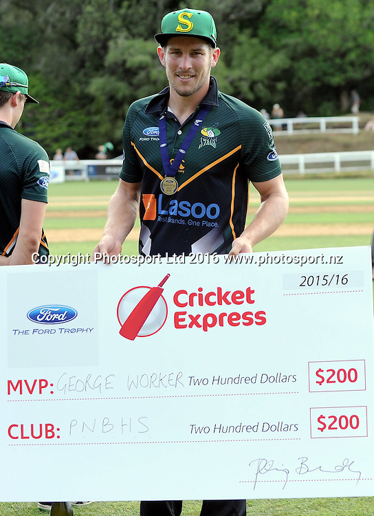 Central District's George Worker is the Cricket Express Man of the Match in the Ford Trophy Final, Central Stags vs Canterbury, Pukekura Park, New Plymouth, January 30, 2016. Copyright photo: Kerry Marshall / www.photosport.nz