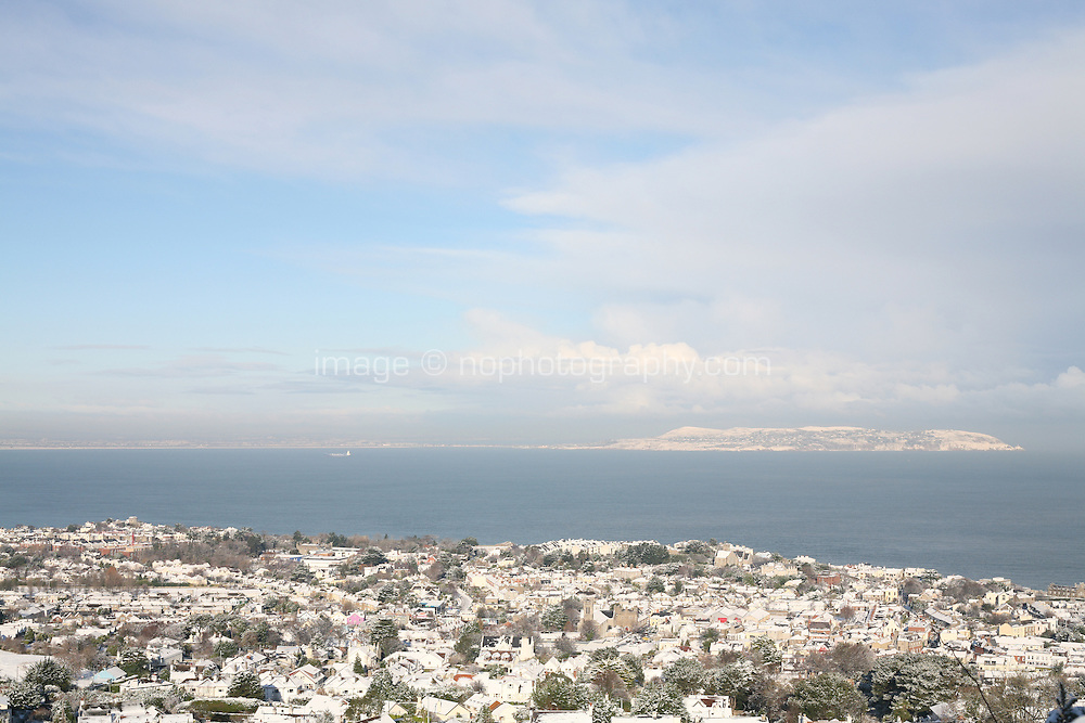 View of Dalkey and Howth in the snow from Dalkey Hill Dublin Ireland November 2010