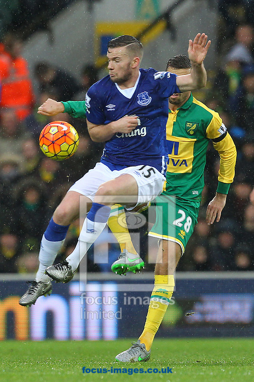 Gary O&rsquo;Neil of Norwich and Tom Cleverley of Everton in action during the Barclays Premier League match at Carrow Road, Norwich<br /> Picture by Paul Chesterton/Focus Images Ltd +44 7904 640267<br /> 12/12/2015