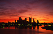 Pittsburgh sunrise over Golden Triangle, Ohio River, Pennsylvania