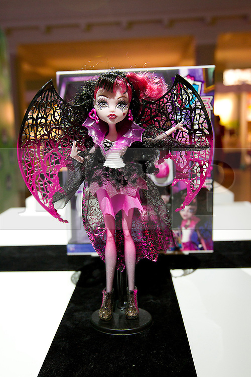 © Licensed to London News Pictures. 31/10/2012. London, UK. A Mattel 'Monster High Ghouls Rule Doll' (RRP GB£22.99) is seen at a Toy Retailers Association (TRA) fair in London today (31/10/12) as the organisation released its 13 Dream Toys for Christmas 2012. Photo credit: Matt Cetti-Roberts/LNP