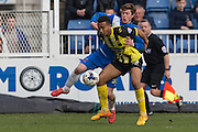 Andre Boucaud (Midfielder) Dagenham & Redbridge and Hartlepool United striker Luke James copete for the ball during the Sky Bet League 2 match between Hartlepool United and Dagenham and Redbridge at Victoria Park, Hartlepool, England on 12 March 2016. Photo by George Ledger.