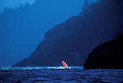 Image of a windsurfer in the Columbia River Gorge, Washington, Pacific Northwest