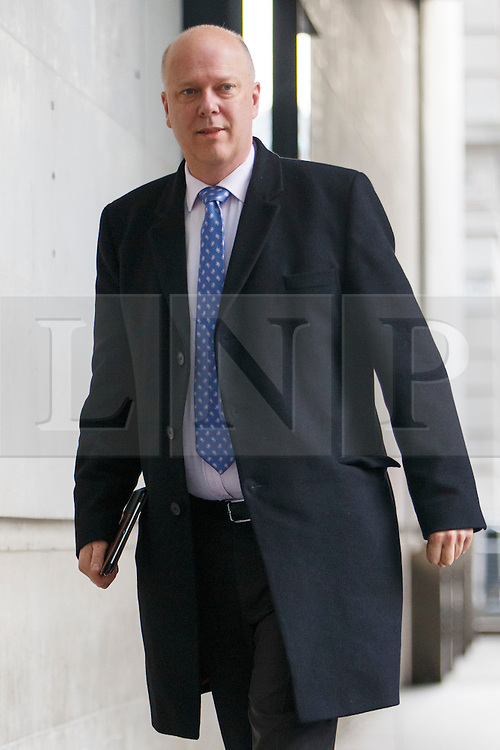 © Licensed to London News Pictures. 05/02/2017. London, UK. Transport Secretary CHRIS GRAYLING arrives at BBC Broadcasting House in London to appear on The Andrew Marr show on BBC One on 5 February 2017. Photo credit: Tolga Akmen/LNP