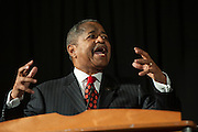 Ohio University president Roderick McDavis speaks during the 15th Annual Martin Luther King Jr. Brunch in Baker University Center Ballroom on Monday, January 19. The Brunch was held directly following a silent march in honor of Dr. King, led by Alpha Phi Alpha fraternity.