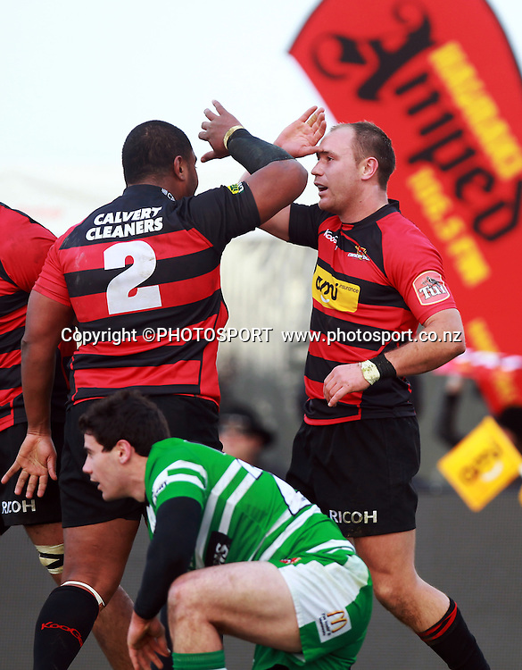Canterbury player Willi Heinz is congratulated by Paul Ngauamo following his first half try. ITM Cup rugby union game, Canterbury v Manawatu. Rugby Park, Christchurch, Saturday 30 July 2011. Photo : Joseph Johnson/photosport.co.nz
