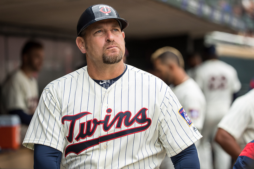 MINNEAPOLIS, MN- APRIL 5: First base coach Jeff Smith #40 of the Minnesota Twins looks on against the Kansas City Royals on April 5, 2017 at Target Field in Minneapolis, Minnesota. The Twins defeated the Royals 9-1. (Photo by Brace Hemmelgarn) *** Local Caption *** Jeff Smith