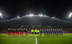 BARYSAW, BELARUS - Tuesday, October 8, 2019: Wales and Belarus players line-up before the UEFA Women's Euro 2021 Qualifying Group C match between Belarus and Wales at the Borisov Stadium. (Pic by Kunjan Malde/Propaganda)