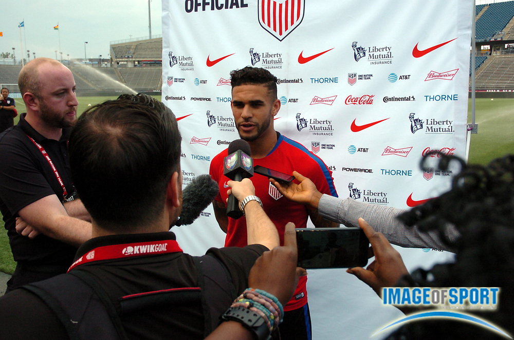 June 30, 2017; East Hartford, CT, USA; United States forward Don Dwyer speaks to the media before a training session at Rentschler Field. Photo by Reuben Canales