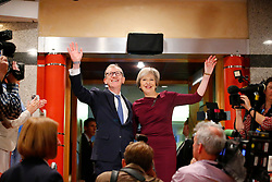 October 5, 2016 - Birmingham, UK - Birmingham, UK. Prime Minister THERESA MAY and her husband PHILIP MAY wave to audience after the final keynote speech at Conservative Party Conference at International Conference Centre in Birmingham on Wednesday, 5 October 2016. (Credit Image: © Tolga Akmen/London News Pictures via ZUMA Wire)