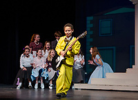 Nehemiah Monon-Marquis as Conrad Birdie takes the stage during dress rehearsal for Bye Bye Birdie with Gilford Middle School on Tuesday afternoon.  (Karen Bobotas/for the Laconia Daily Sun)