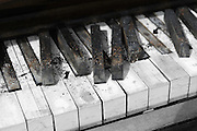 I found this homeless piano outside at a small country truck stop, sitting in a remote and muddy dirt corner at the end of a line of parked trucks. It was very weathered and broken up from being outside through Arizona heat and Montana cold year after year, and stood as the centerpiece of a small junk pile of assorted debris and common trash. It was probably abandoned there on a midnight dump-and-run mission, and not left for live music at back lot trucker parties.<br /> <br /> Every black key had split off at the foundation and was laying semi-scattered; the warping veneer went in waves. The almost jumbled white keys had flaked off most of their plastic covering and everything had a layer of grit caked onto it. Chunks and bits laid in apocalyptic ways as if the human race had left town 100 years ago. I was very careful not to disturb any of it, wanting every naturally occurring grungy character detail of this abandoned piano.<br /> <br /> It was found accidentally one morning while paying for breakfast at the truck stop. Looking out the window behind the cashier, I could see the back of an upright piano way off in the distance, squinting to be sure. I went out the door and walked over. Sure enough, there was the coming-apart carcass of an upright piano. I gave it a kick to make sure there was nothing living in it like a musical raccoon or two.<br /> <br /> Since this site lies fairly close to home, I returned to photograph it in detail several times in different ways, like progressing chapters in the Book of Deterioration. Being a true country junk pile, someone had thrown some broken plate glass mirrors onto it that were later incorporated into other compositions with this piano. On another visit, I found it pushed over backwards which would seem to be the last act for this musical Titanic, but even more images were made after that too. The remains are still there with weeds coming up through, but for sure the only tunes it plays nowadays are on the other side of 
