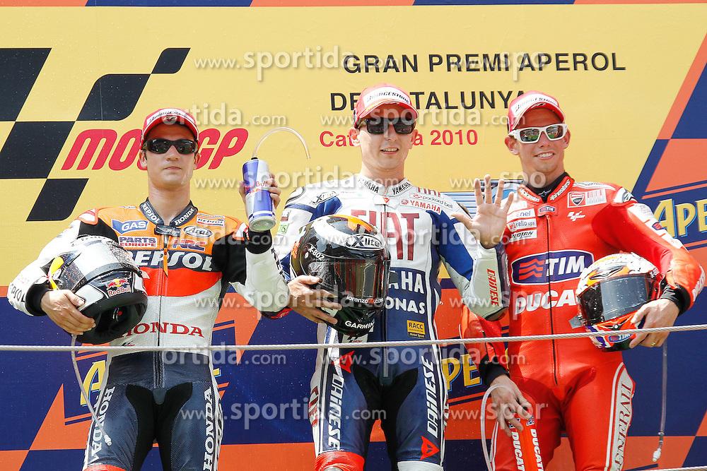 04.07.2010, Montmelo, Barcelona, ESP, MotoGP, Grand Prix von Katalonien im Bild Pedrosa, Lorenzo, Stoner, EXPA Pictures © 2010, PhotoCredit: EXPA/ InsideFoto/ Semedia *** ATTENTION *** FOR AUSTRIA AND SLOVENIA USE ONLY! / SPORTIDA PHOTO AGENCY
