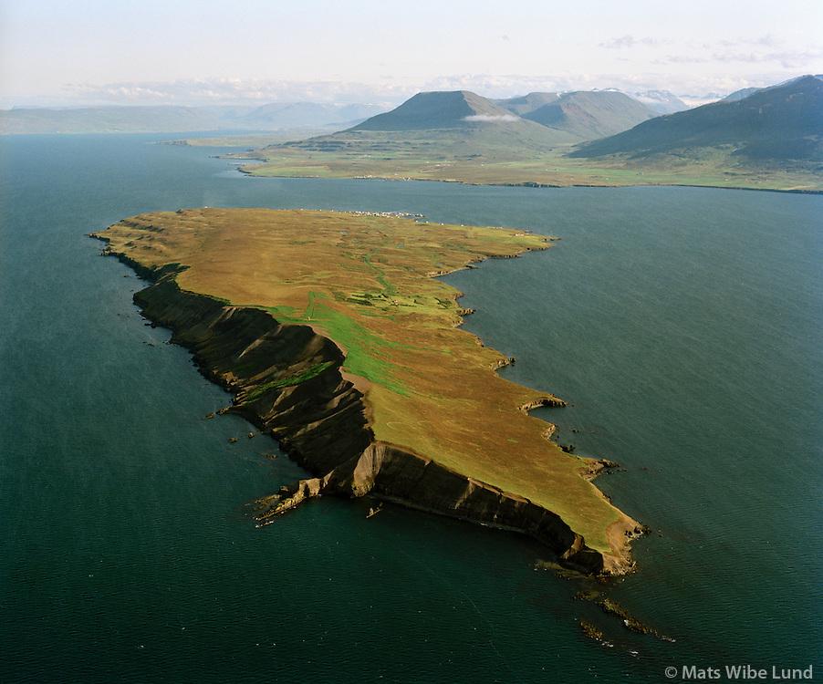 """Hrísey séð til suðurs, Árskógssandur í baksýni, Eyjafjörður. Hrísey er nú í Akureyri. / Hrisey viewing south. Arskogssandur in background. Eyjafjordur. Hrisey now """"belongs"""" to Akureyri."""