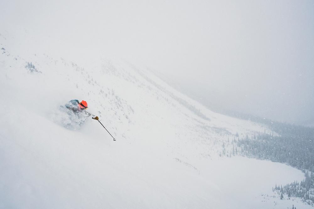 Matt Kennedy skiing out the Front Door, Meadow Hut, Esplanade Range, BC.