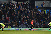 Peterborough United fans Celebrate after Peterborough United Forward, Ivan Toney (17) scores a goal to make it 2-3  during the EFL Sky Bet League 1 match between Portsmouth and Peterborough United at Fratton Park, Portsmouth, England on 30 April 2019.
