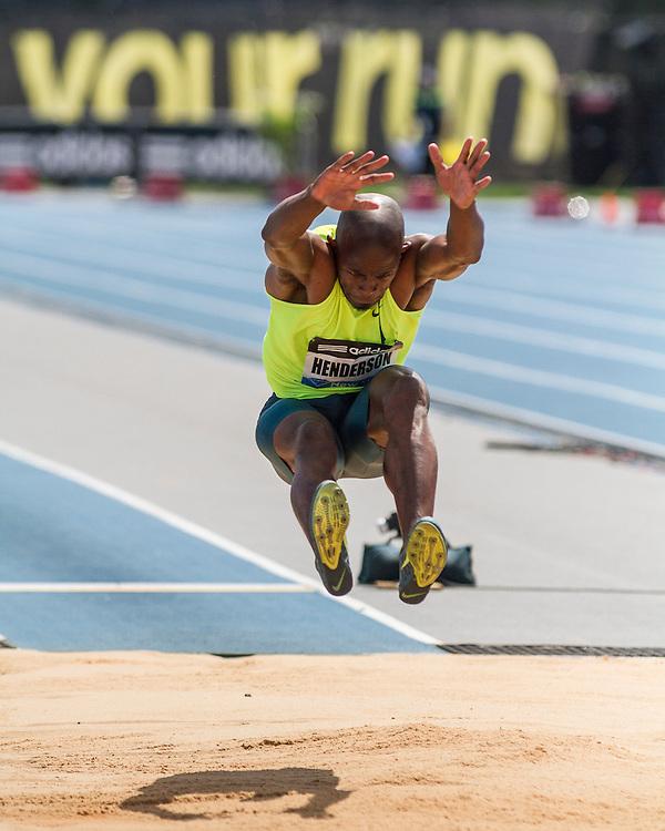 Jeff Henderson, USA, wins men's long jump, adidas Grand Prix Diamond League track and field meet