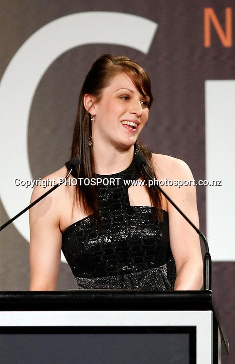 Paralympian Sophie Pascoe presents awards.<br />New Zealand Cricket Awards for the 2008/09 season at the Sky City Grand Hotel in Auckland on Thursday 22 October 2009. Photo: Andrew Cornaga/PHOTOSPORT