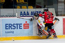 01.03.2016, Ice Rink, Znojmo, CZE, EBEL, HC Orli Znojmo vs Dornbirner Eishockey Club, Viertelfinale, 3. Spiel, im Bild v.l. Nicholas Crawford (Dornbirner) Jiri Beroun (HC Orli Znojmo) // during the Erste Bank Icehockey League 3rd quarterfinal match between HC Orli Znojmo and Dornbirner Eishockey Club at the Ice Rink in Znojmo, Czech Republic on 2016/03/01. EXPA Pictures © 2016, PhotoCredit: EXPA/ Rostislav Pfeffer