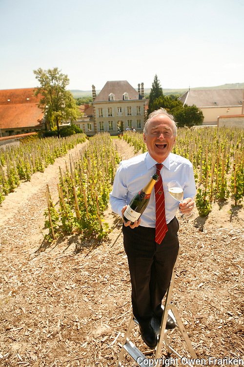 "Director Ghislain de Monglofier, in the ""Chaude Terre"" Vineyard,  Bollinger Champagne, Ay, France....The grapes from this vineyard is used for the exclusive Bollinger Vieilles Vignes Francaises....photograph by Owen Franken for the NY Times....assignment number 30024675A....June 6, 2006.. ........................................"