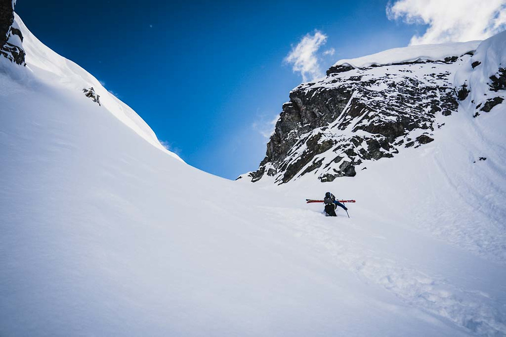 """""""Don't be late for supper."""" Simon Thomson leads the way, Lakehead Peak, Howson Range, British Columbia."""
