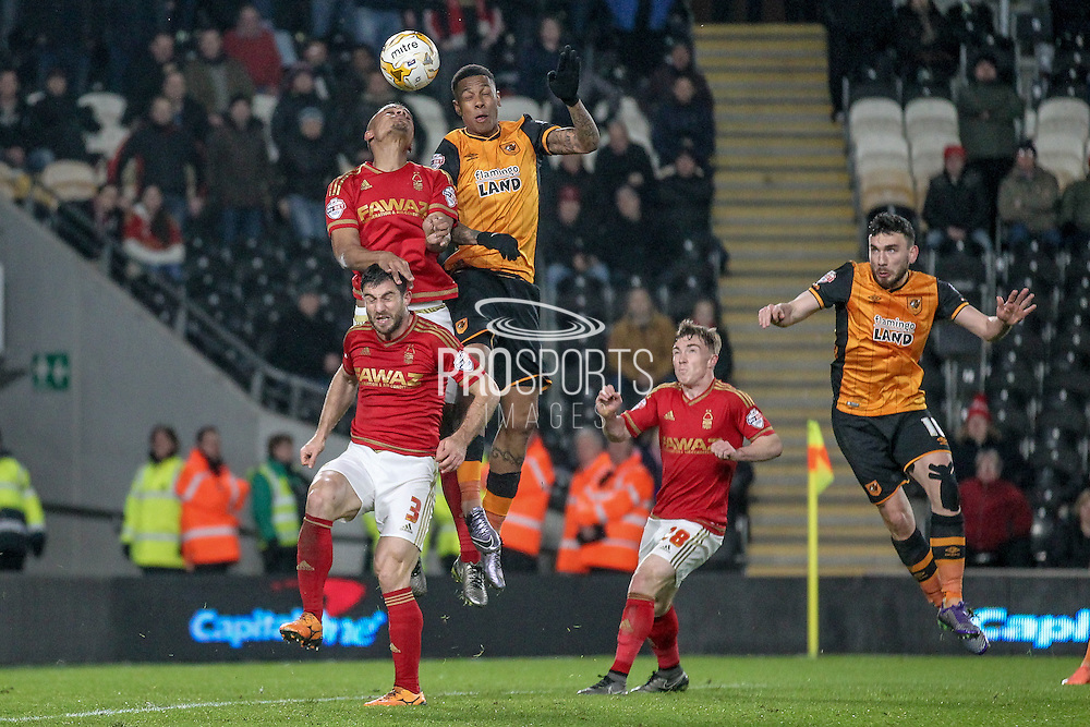 A corner is headed away by the Nottingham Forest defenders during the Sky Bet Championship match between Hull City and Nottingham Forest at the KC Stadium, Kingston upon Hull, England on 15 March 2016. Photo by Mark P Doherty.