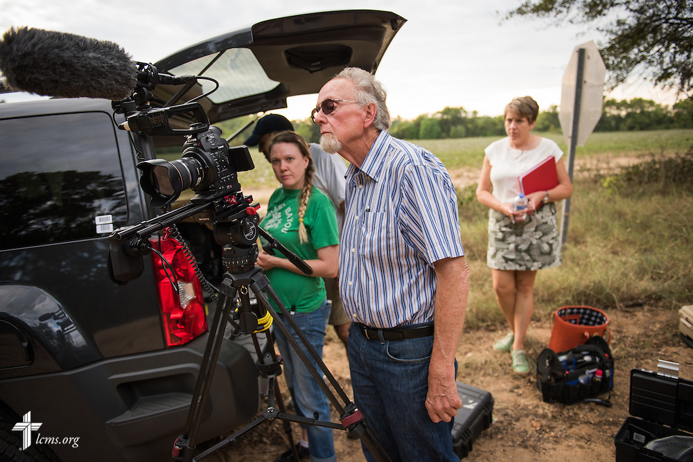 Director Dr. Ardon Albrecht reviews a scene during the final day of filming for 'The First Rosa' documentary on Thursday, September 25, 2014, near Selma, Ala. LCMS Communications/Erik M. Lunsford