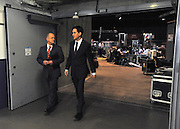 © Licensed to London News Pictures. 29/09/2011. LONDON, UK. Ed Miliband, the Leader of the Labour Party leaves the media centre after taking part in a live TV interview in a temporary studio in the conference arena at The Labour Party Conference in Liverpool today (29/09/11). Photo credit:  Stephen Simpson/LNP