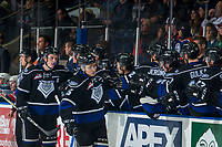 KELOWNA, CANADA - JANUARY 25:  Scott Walford #7 and Igor Martynov #15 of the Victoria Royals skate past the bench to celebrate a goal against the Kelowna Rockets on January 25, 2019 at Prospera Place in Kelowna, British Columbia, Canada.  (Photo by Marissa Baecker/Shoot the Breeze)