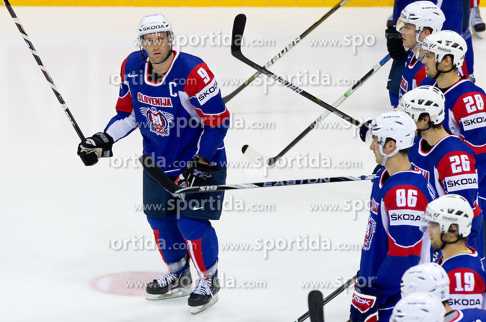 Tomaz Razingar of Slovenia during ice-hockey match between Slovenia and Belarus of Group G in Relegation Round of IIHF 2011 World Championship Slovakia, on May 8, 2011 in Orange Arena, Bratislava, Slovakia. Belarus defeated Slovenia 7-1 and stays in Elite Group A. (Photo By Vid Ponikvar / Sportida.com)