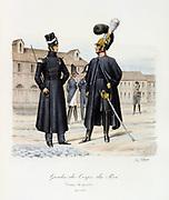 Members of the King's Guard, 1820-1830.  From 'Histoire de la maison militaire du Roi de 1814 a 1830' by Eugene Titeux, Paris, 1890.