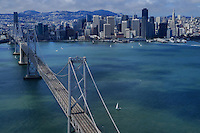 San Francisco-Oakland Bay Bridge with San Francisco Skyline (aerial)