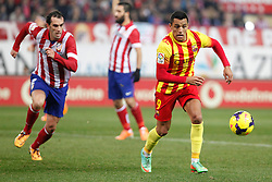 11.01.2014, Estadio Vicente Calderon, Madrid, ESP, Primera Division, Atletico Madrid vs FC Barcelona, 19. Runde, im Bild Atletico de Madrid´s Godin (L) and Barcelona´s Alexis Sanchez // Atletico de Madrid´s Godin (L) and Barcelona´s Alexis Sanchez during the Spanish Primera Division 19th round match between Club Atletico de Madrid and Barcelona FC at the Estadio Vicente Calderon in Madrid, Spain on 2014/01/11. EXPA Pictures © 2014, PhotoCredit: EXPA/ Alterphotos/ Victor Blanco<br /> <br /> *****ATTENTION - OUT of ESP, SUI*****